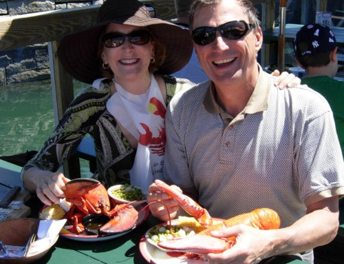 Eating Lobster in Bar Harbor, Maine