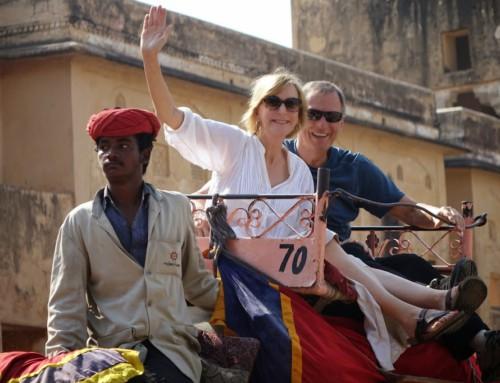 Riding elephants in India
