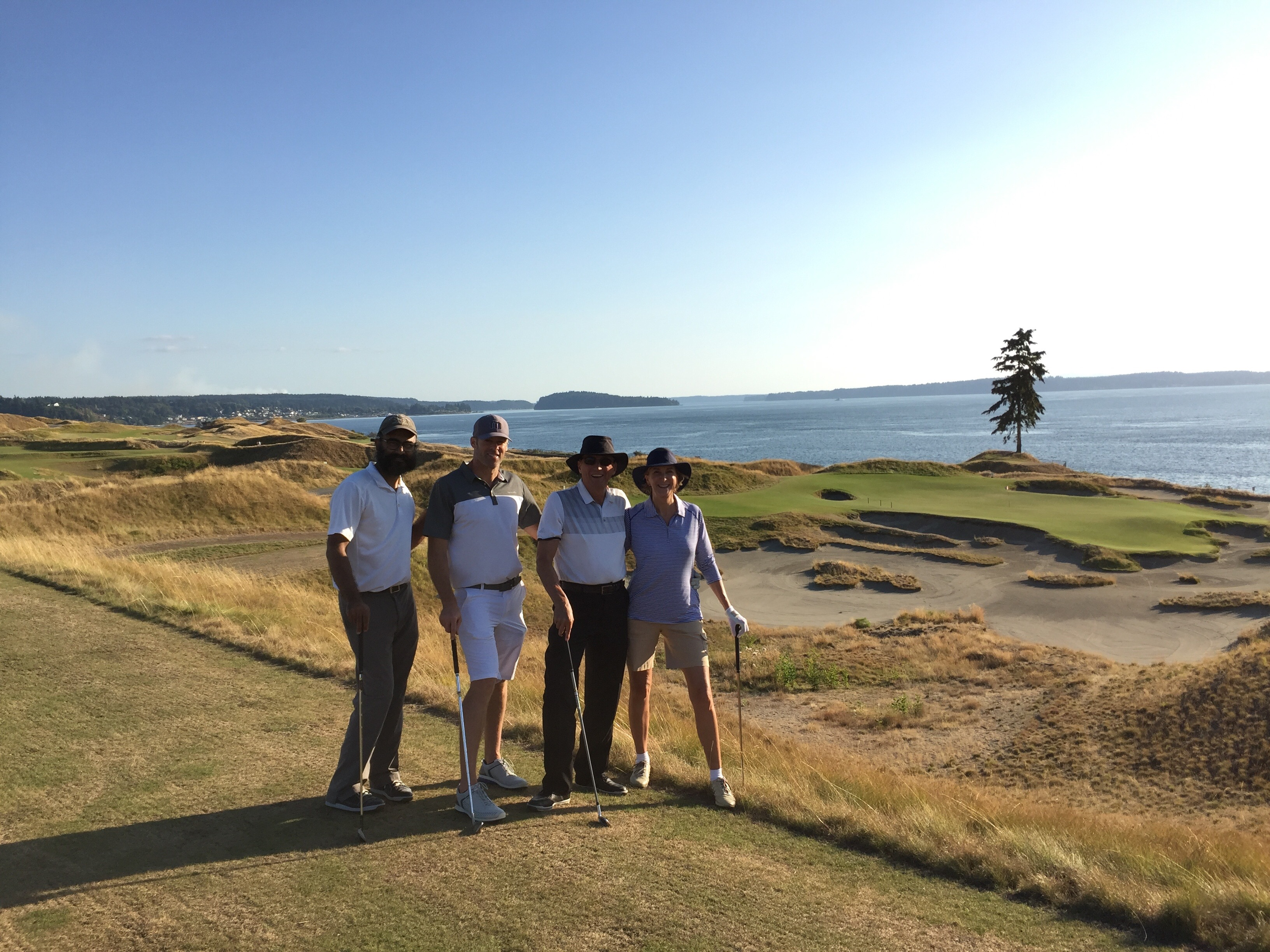 Harp, Dave, Mike and I by the lone tree at Chambers Bay.