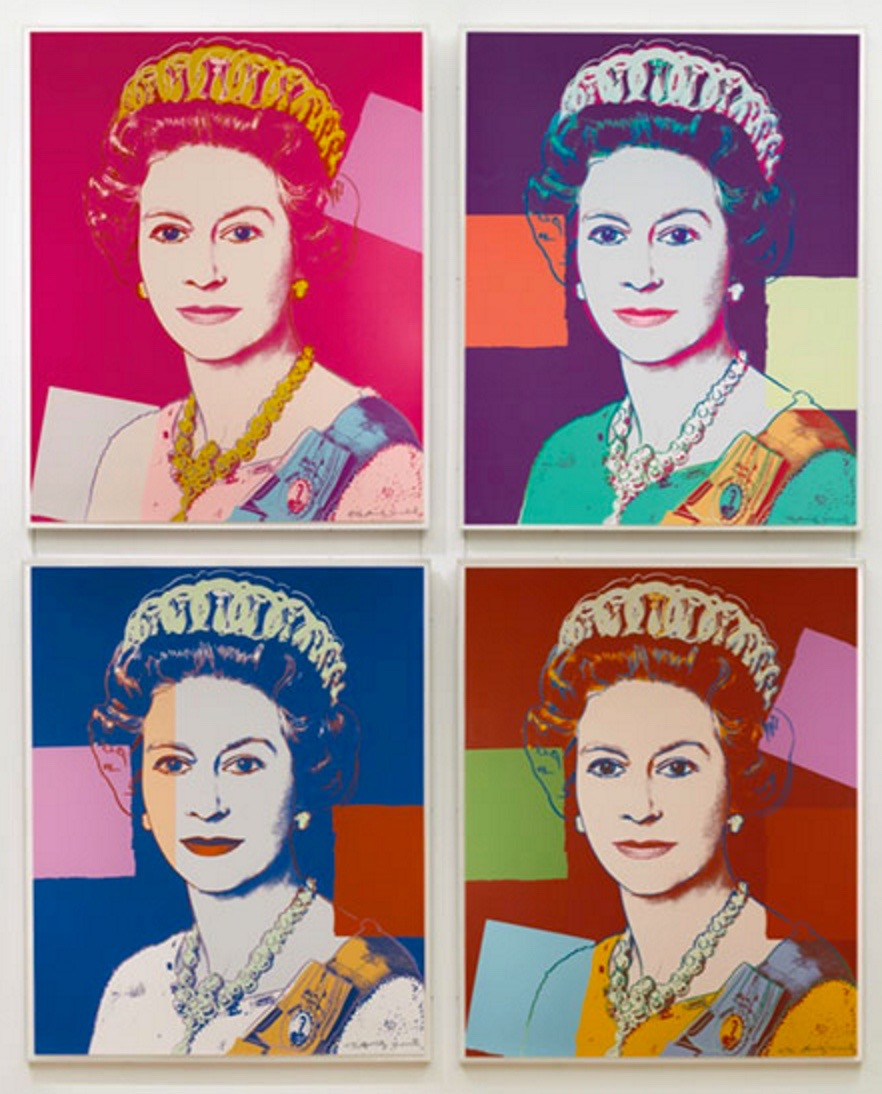 Buckingham Palace's art collection includes the original Andy Warhol from 1985, sprinkled with actual diamond dust.