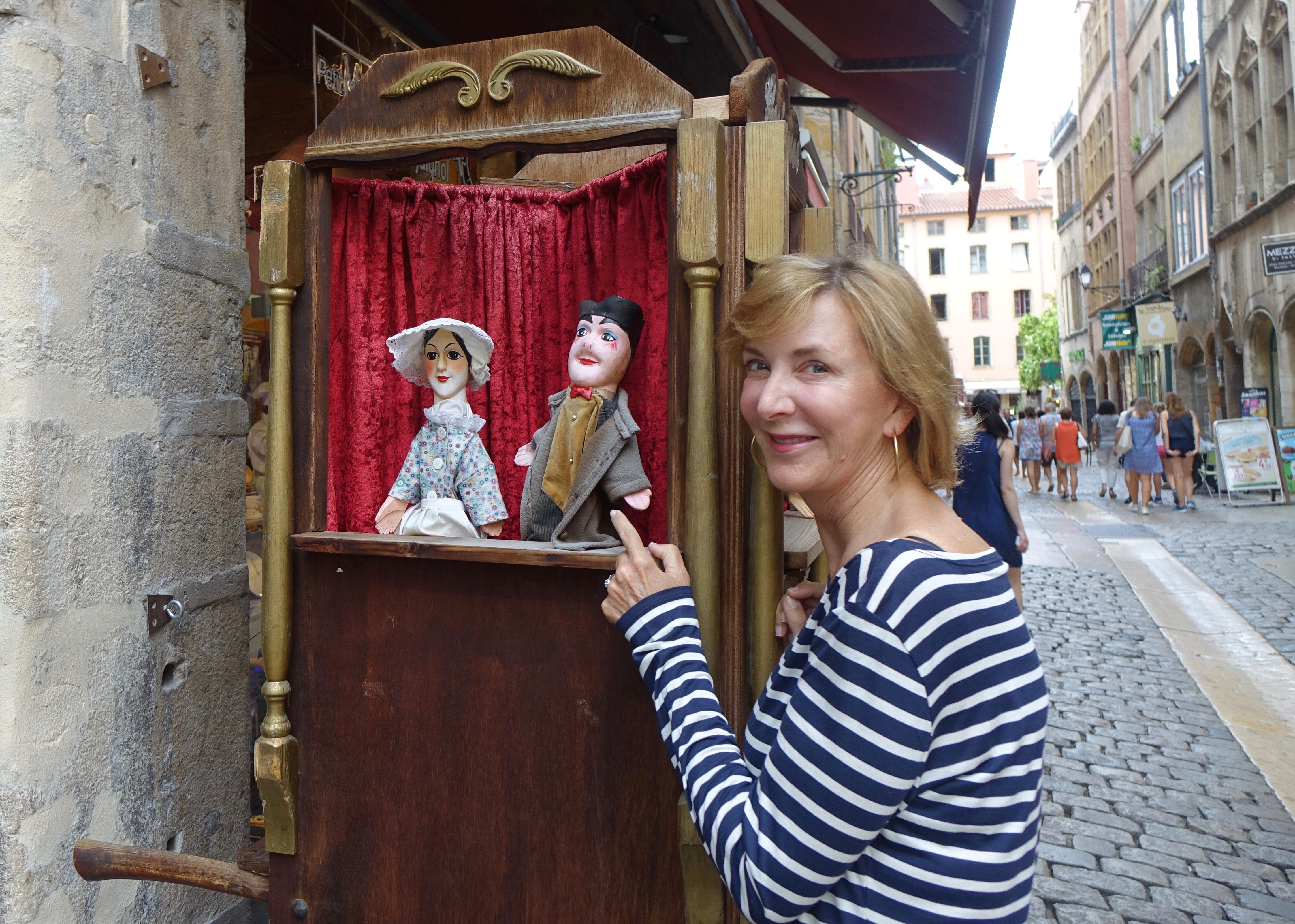 Guignol is puppet show icon who amuses children and witty adults, similar to Punch and Judy in the UK.